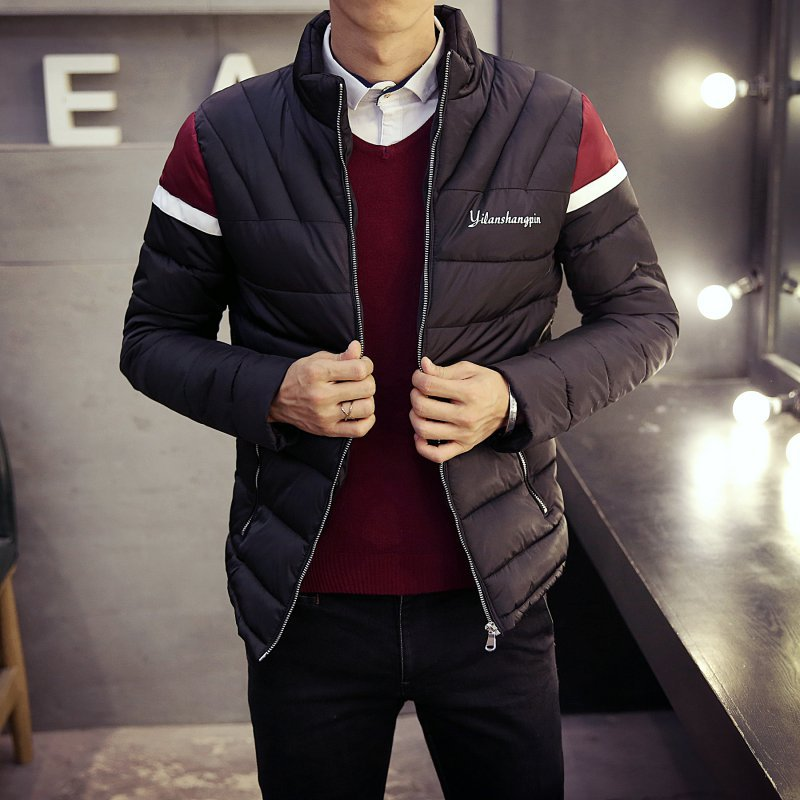 New padded winter new men s fashion trend Korean version spell color collar men s warm