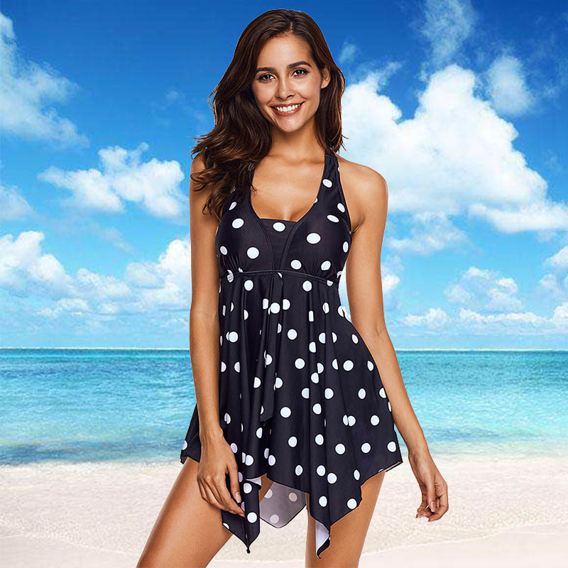 OHDREAM Plus Size 5XL Swimsuit Women Tankini Asymmetric Hem Halter Swimdress And Panty Beachwear Dot Printed