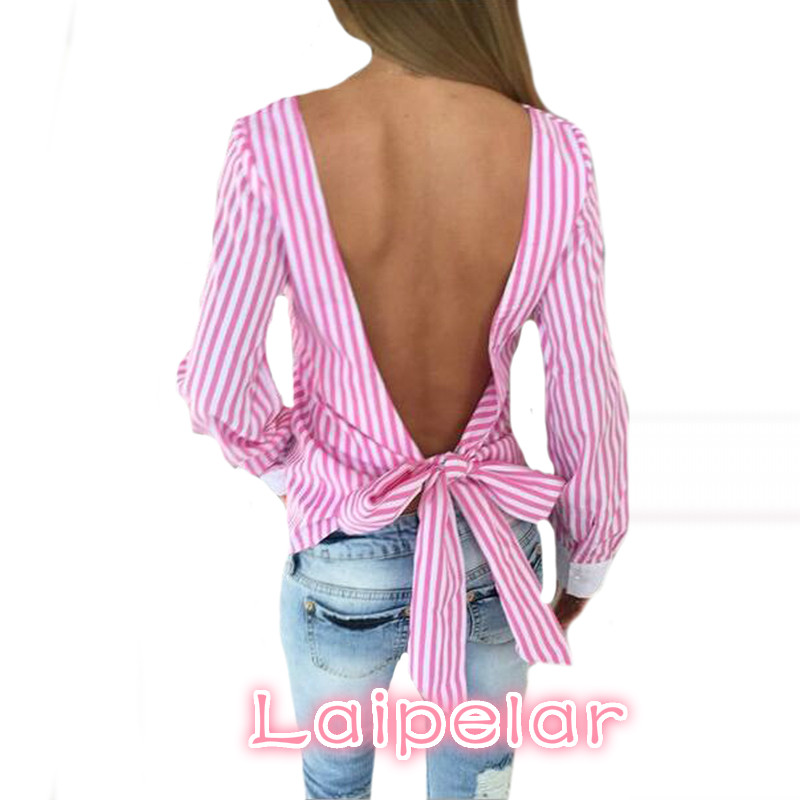Novelty Striped Blouses Women Sexy Bowknot Backless Shirts Long Sleeve O neck Blouse Bandage Tops Plus Size Female M0132