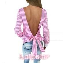 Novelty Striped Blouses Women Sexy Bowknot Backless Shirts Long Sleeve O neck Blouse Bandage Tops Plus Size Female M0132