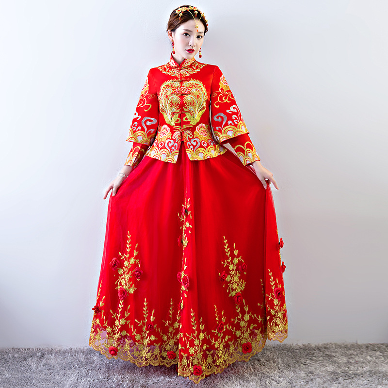 Bride Traditions Red Women Phoenix Embroidery Cheongsam Long Qipao Wedding Dresses Traditional Chinese Dress Chinees Jurkje все цены
