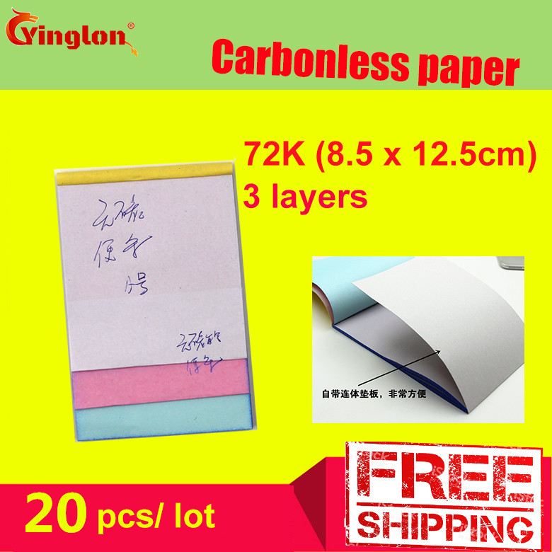 Free Shipping 5pcs / Lot 72K Blank 3 Layer Carbonless Paper Triple Layer Handwritten Sales Note Memorandum Sheet Letter Pad