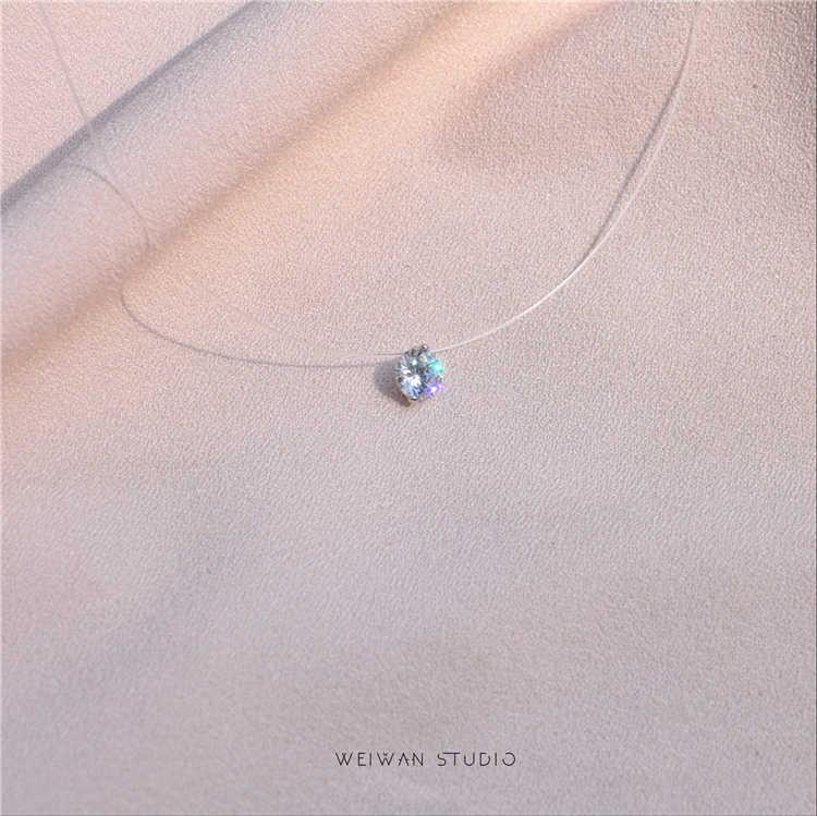 Gorąca sprzedaż moda plac sztuczna perła kryształ cyrkon moc naszyjniki niewidzialna, przezroczysta żyłka wędkarska naszyjnik kobiet