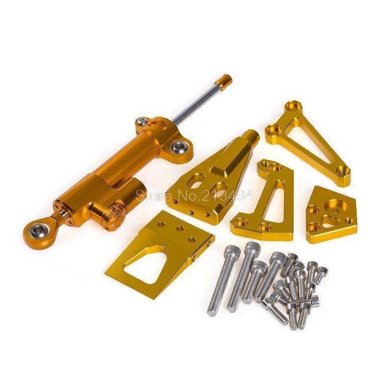 Новое поступление рулевой демпфер + Монтажный Комплект для Kawasaki ЭР-4Н ЭР-4F 2011-2014 ЕР-6Н ЕР-6Ф 2009-2011 золото
