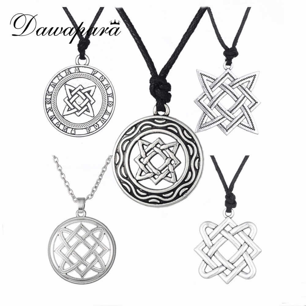 Dawapara Kolovrat Goth Jewerly Star of Russia Lada-Virgin Amulet Gothic Slavic Pendant Men Women Minimalist Slavic Necklace