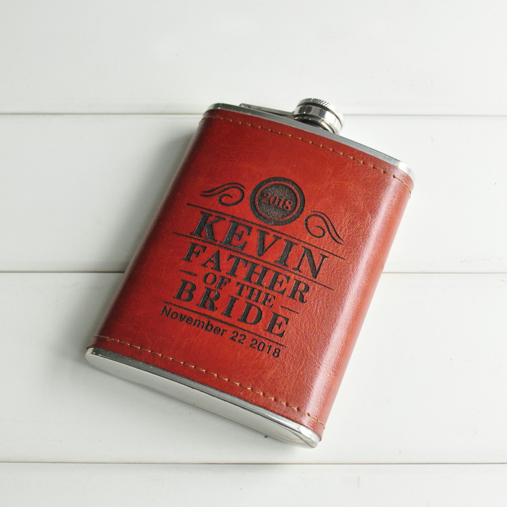 Custom Leather Flask, Handmade Hip Flasks Personalized Wedding Gift Wrapped Flask Grooms ...