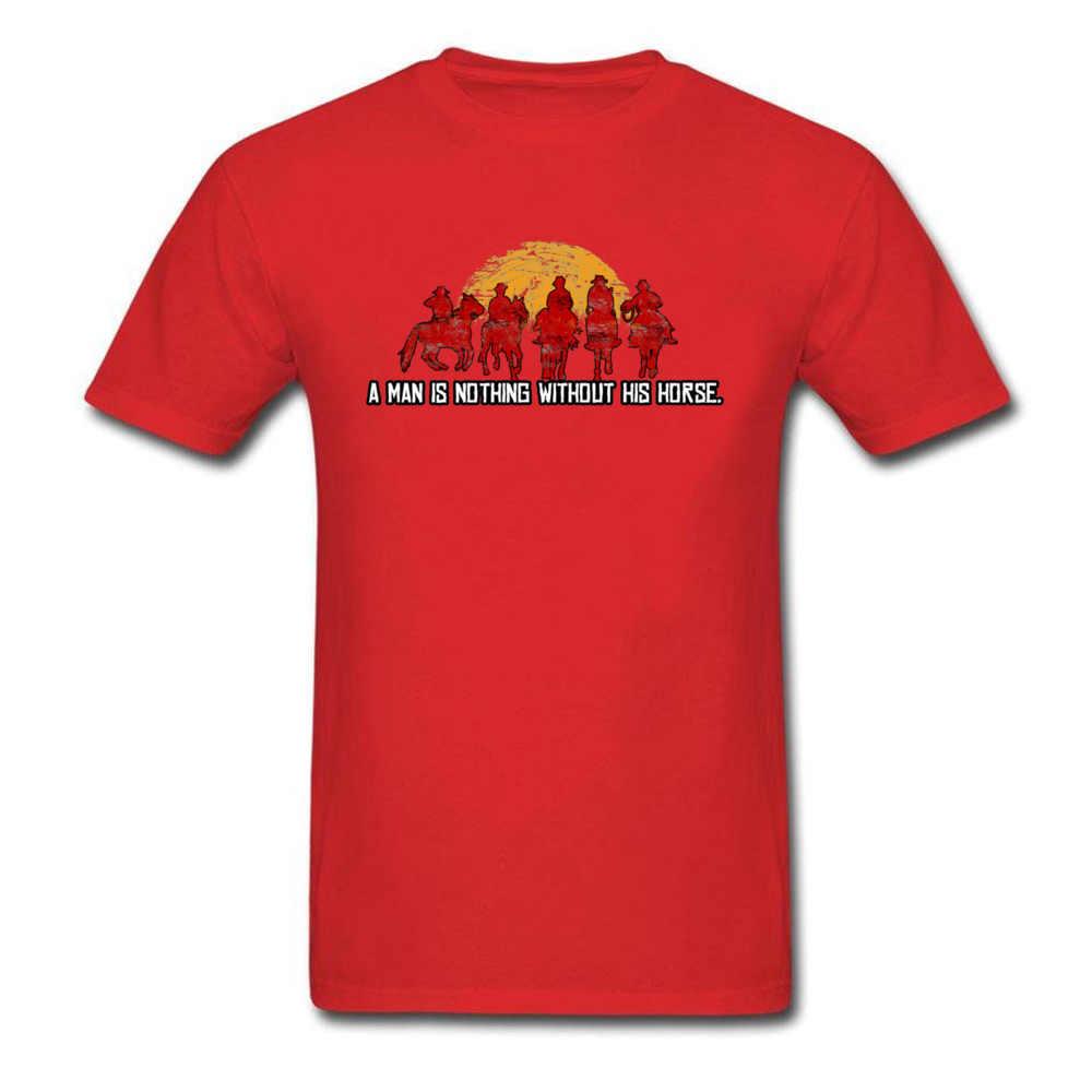ゲーマー Tシャツメンズ Tシャツ赤デッド償還 Tシャツ日没男性は何も彼の馬なしヴィンテージデザインストリートトップス