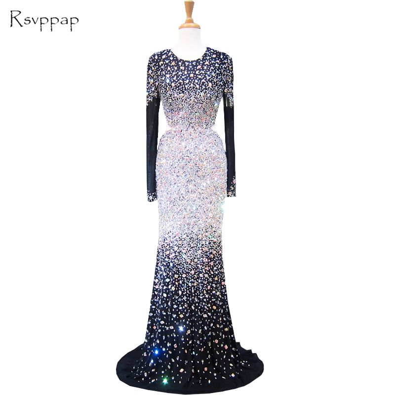 Long   Evening     Dress   2018 Mermaid Style Scoop Long Sleeve Luxury Beaded Crystals Floor Length Women Black Formal   Evening     Dresses