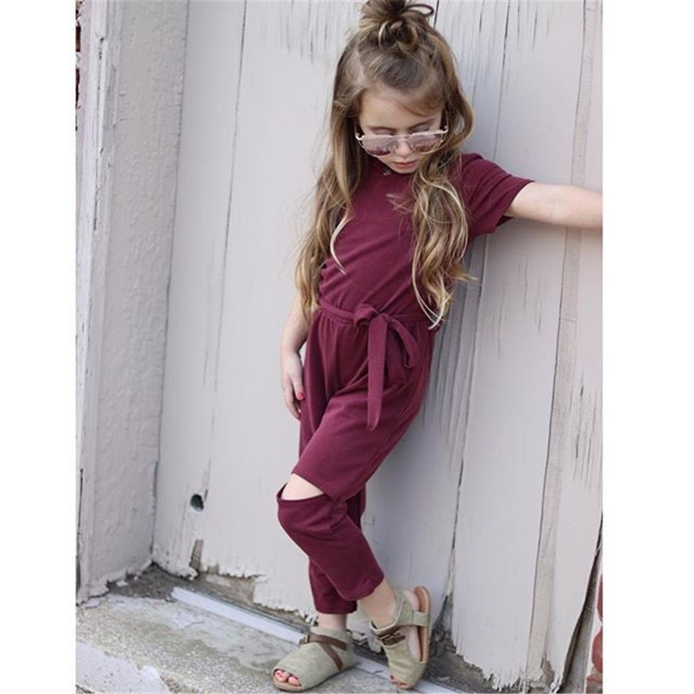 Kids Baby Girls Clothing Holes Belt Romper Cold Shoulder Jumpsuit Loose Outfits summer clothes summer baby girls romper