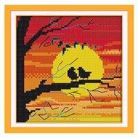 Joy Sunday cross stitch kits bird crane sunset home scene DMC14CT11CTcottonfabric livingroom restaurant hotel painting wholesale