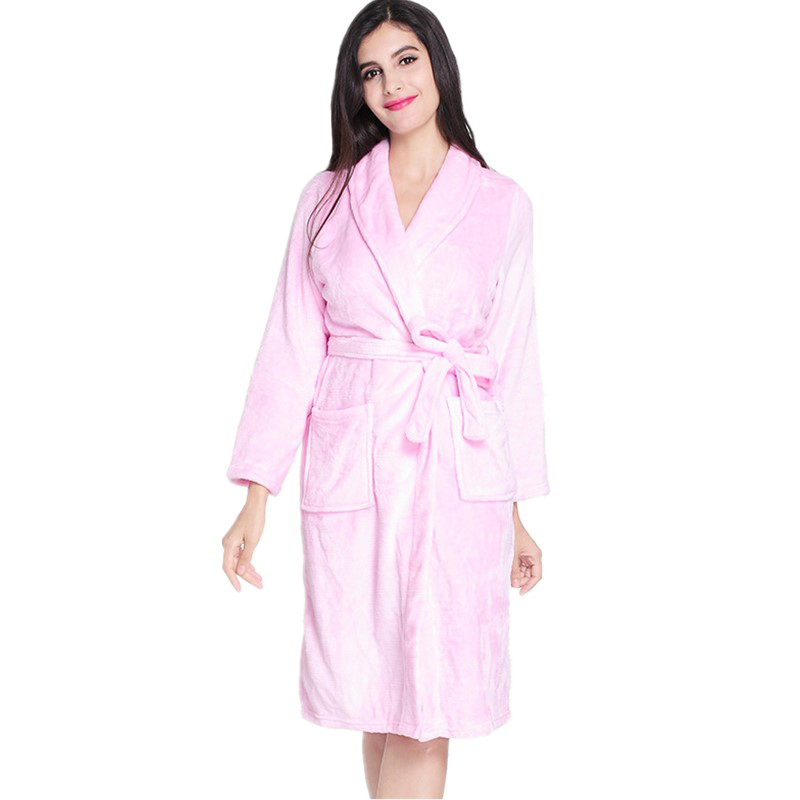 a199851355 Pink Female Kimono Bath Robe Winter Flannel Nightgown Full Sleeve Warm Home  Dressing Gown Casual Sleepwear Negligee One Size
