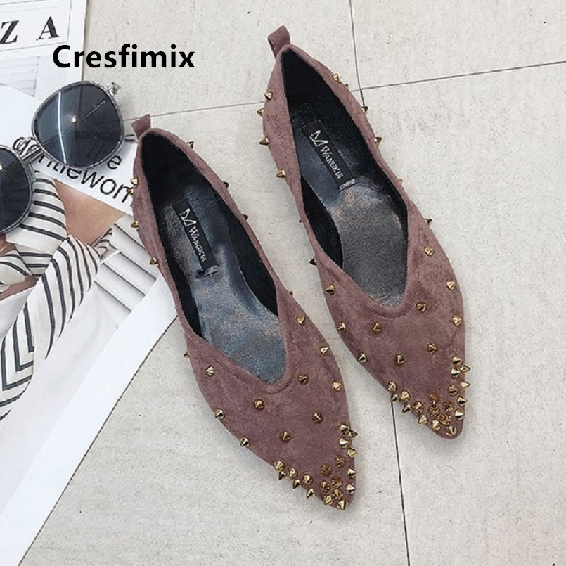 Cresfimix Women Fashion Comfortable Brown Slip On Flat Shoes Lady Pointed Toe Black Shoes Female Spring Summer Shoes C5039