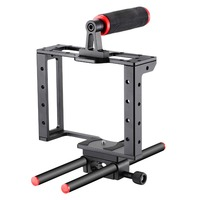 Neewer Camera Video Cage Film Movie Making Kit: (1)Camera Video Cage,(1)Handle Grip,(2)15mm Rod for Canon Nikon Sony and Other