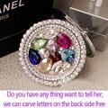 Grabar letras logo libre, rhinestone cristalino del corazón, regalo de boda, Mini Belleza espejo de bolsillo, de acero inoxidable, maquillaje compacto espejo