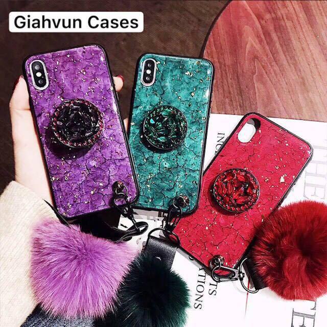 Phone <font><b>cases</b></font> phone <font><b>case</b></font> Luxury Marble Glitter Holder Coque Fur pompom For BBK <font><b>vivo</b></font> BBK <font><b>vivo</b></font> V7 <font><b>V7plus</b></font> V11 V15Pro <font><b>case</b></font> image