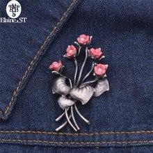 Vintage flor arreglo flor broche Color rosa antiguo flor rama broche Pin broches de bufanda accesorios ramo boda