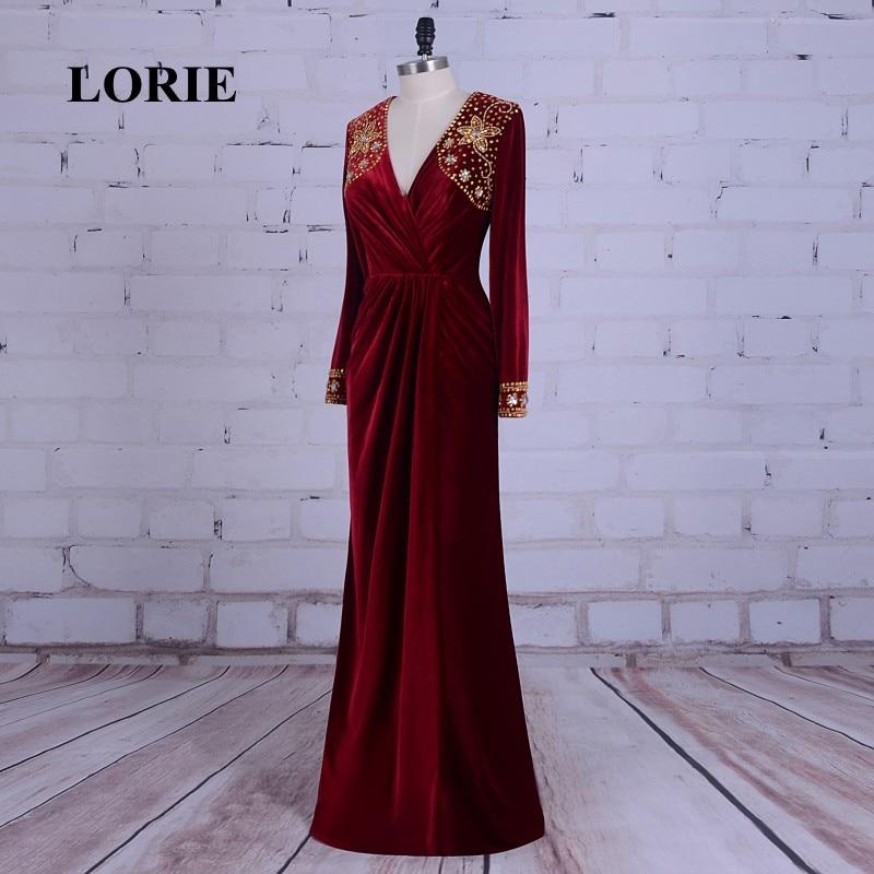 LORIE Burgundska večernja haljina Velvet V-Neck Beaded Zlatni kamen - Haljina za posebne prigode - Foto 3
