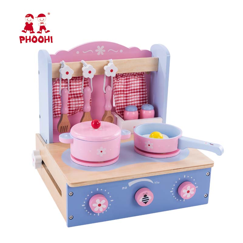 Children Wooden Kitchen Toy Set Pretend Play Tabletop Stove Kids Mini Kitchen Toy High Quality PHOOHI