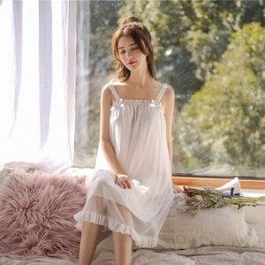 Image 2 - Modal Weiß Spitze Ärmelloses Nachthemden Für Frauen Retro Vintage Prinzessin Weibliche Lose Nachtwäsche Sexy Nacht Kleid