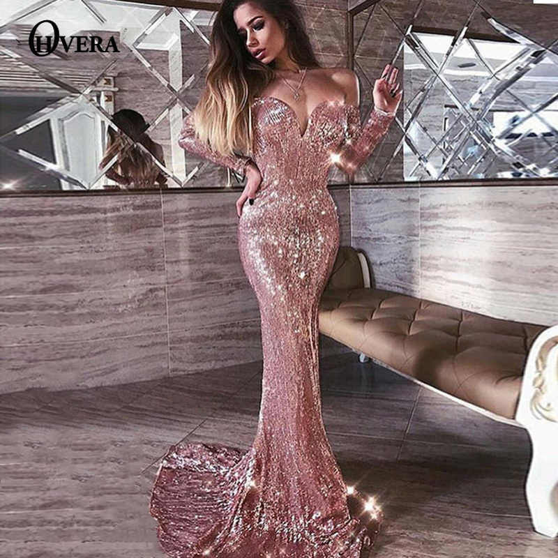 e5a65789108c Ohvera Off Shoulder Sexy Club Party Dress Women Backless Long Sleeve Autumn Dress  Elegant Mesh Sequin