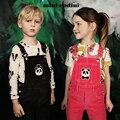 2017 del otoño del resorte niños panda bordado pantalones pantalones del babero de pana niños ropa trajes marca suecia barcelona niños VETEMENT