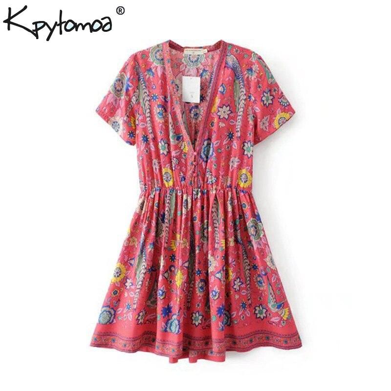 Boho Chic verano Vintage Floral aves impresión Mini vestido de mujer moda 2019 de manga corta con cuello en V de playa Vestidos de Mujer Vestidos
