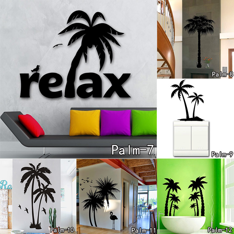 Home Decor Art Tree Wall Sticker Removable Mural Decal: Large Palm Trees Bird Removable Vinly Wall Decal Art Mural