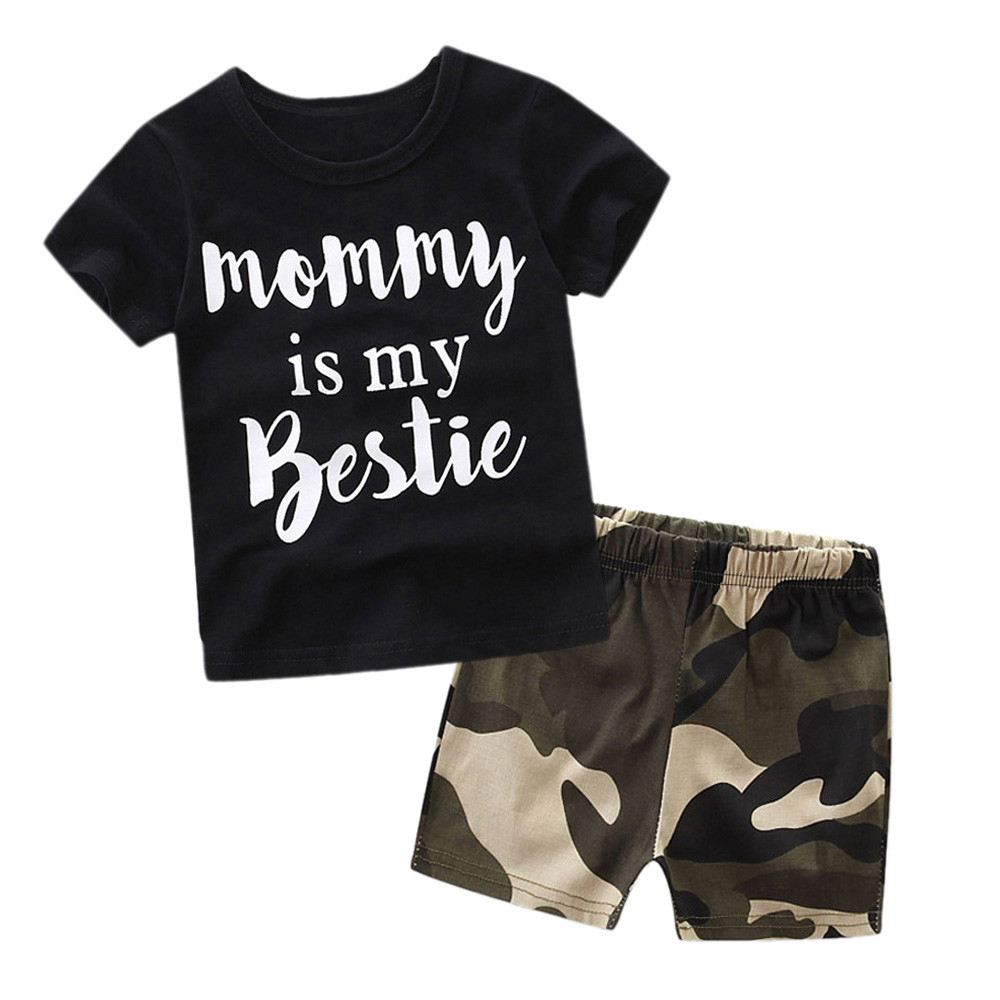 2017 New Style Summer Outfits Set Camouflage Newborn Baby Boy Girl Tops Short Sleeve T-shirt + Shorts Pants Outfits Set Clothes newborn baby boy girl clothes set short sleeve top bodysuits leg warmer bow headband 3pcs clothing outfits set
