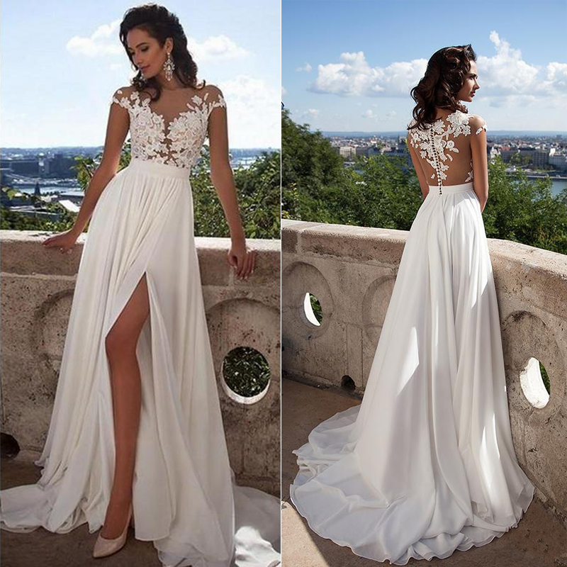 Sleeveless Wedding Dress 2018 Beach Bridal Gown Chiffon Lace Appliques White/Lvory Romantic Buttons Accept Custom Made