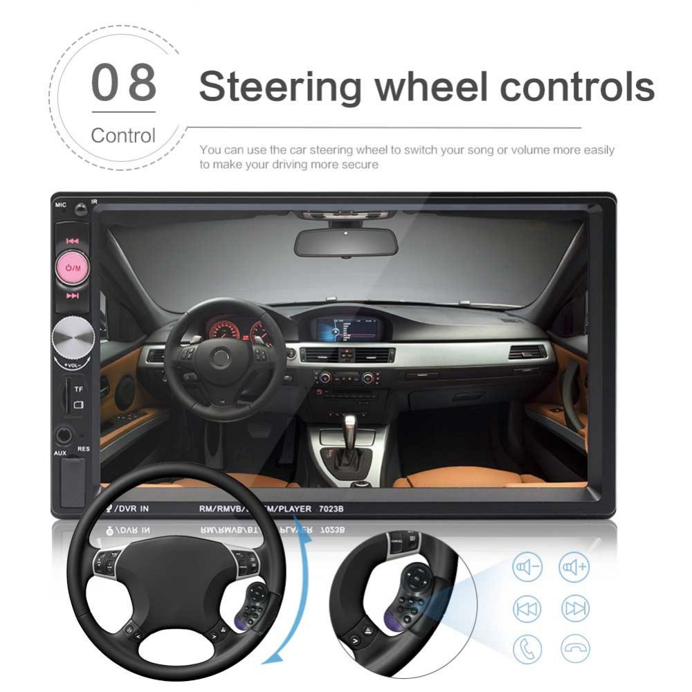 7 Inch HD Touch Screen Car Radio Bluetooth Stereo Audio