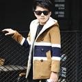 Kids boys winter padded jacket 2016 new baby boys fashion clothing big virgin plus velvet woolen coat 6/7/8/9/10/11/12/13 years