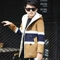 Niños chicos invierno chaqueta acolchada 2016 nuevos bebés ropa de moda virgen grande, además de terciopelo de lana abrigo 6/7/8/9/10/11/12/13 años