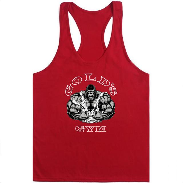 2018 Fashion Golds Tank Top Men Sleeveless Shirt Bodybuilding Fitness Men's Cotton Singlets Muscle Clothes Workout Vest