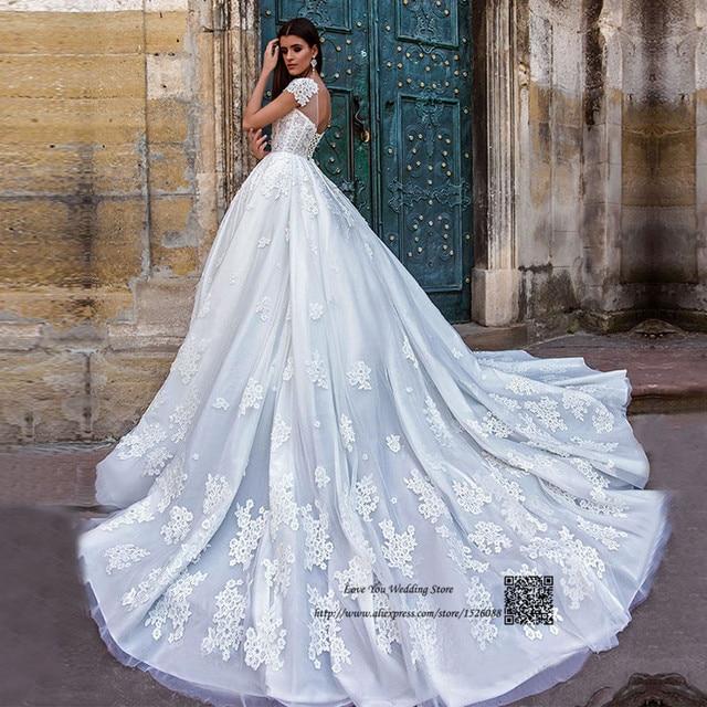 Gothic Luxury Wedding Dress Long Train Lace Country Western Wedding ...