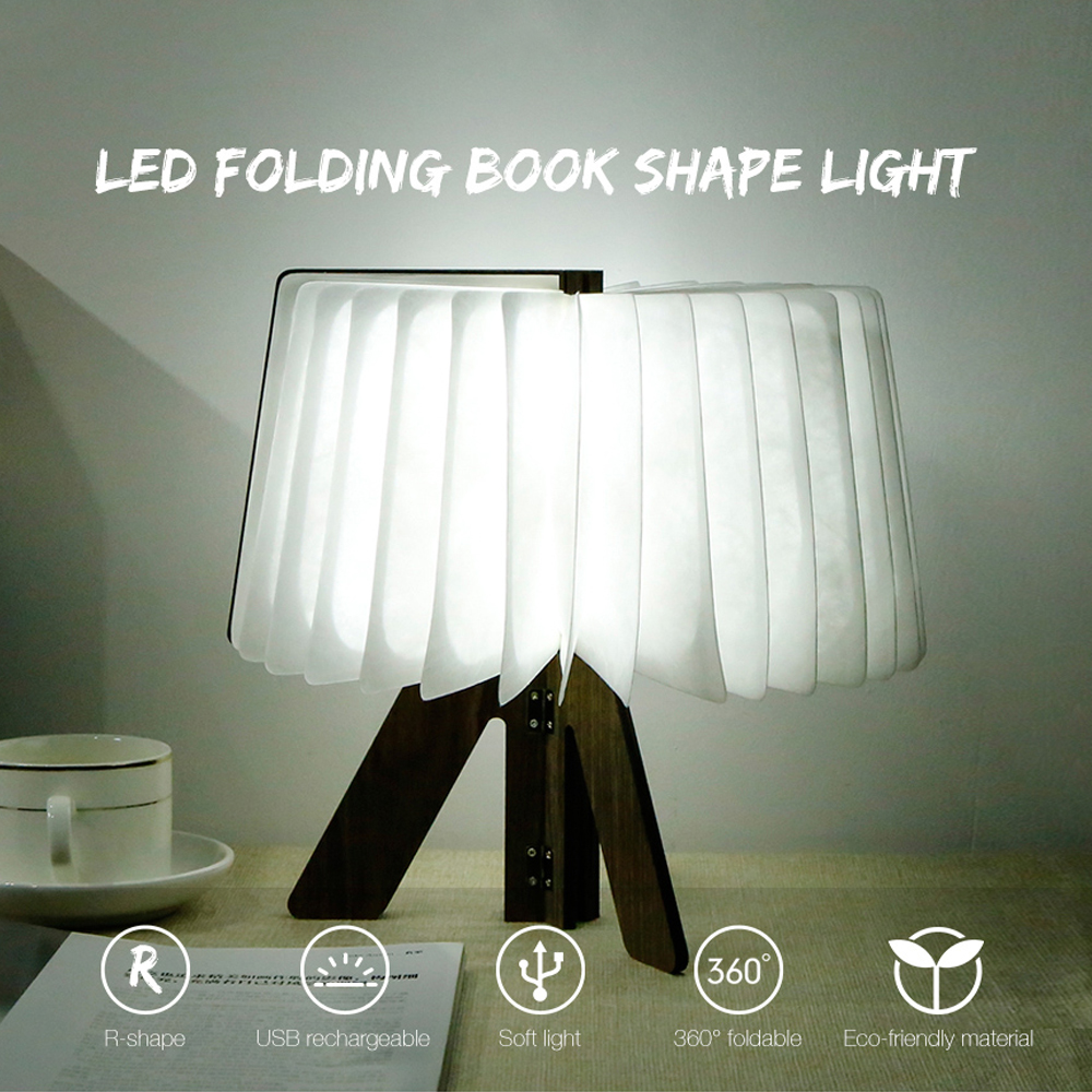 LED Night Light Wooden Folding Book Light USB Rechargeable Foldable Book Lamp For Living Room Bedroom Table Desk Lamp Decorate