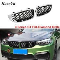 1Pair F34 Diamond Grille for BMW 3 Series GT Gran Turismo 320i 328i 330i 335i 340i 325d Chrome Gloss Black Car Styling