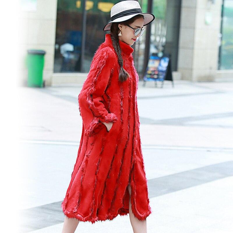Montant Longues Fausse Mince Femme Hiver E061 À Manches Patchwork Rayé Femmes Imitation Col 2018 Manteaux Fourrure Survêtement Rouge Vison De xPn6RWq