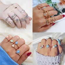 5Pcs/Set Luxe Fire Opal Ring Antique SilverOval Round Stone Finger Ring Pink Stone Rhinestone Vintage Jewelry Gift for Women(China)