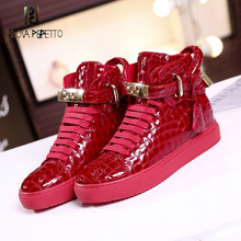 Prova Perfetto 2019 Autumn High-top Woman Sneakers Shoes Hidden Increasing Casual Shoes Genuine Leather Black And Red Sneakers