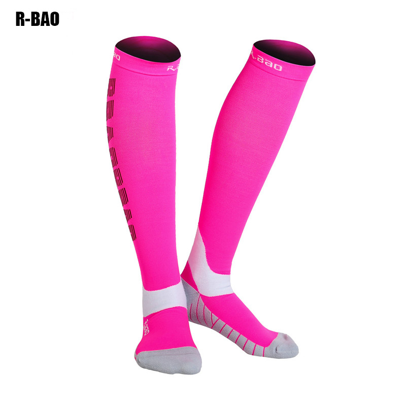 R-BAO 3 pair of lot Men Women Leg Support Stretch Outdoor Sports Socks Knee High Compression Socks Running Long Socks gelete stylish men s sports socks black pair