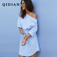 QI DIAN Fashion 2018 Summer Dress Women Blue And White Stripes Dress Women Oblique Shoulder Loose