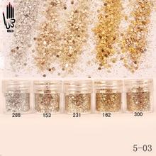 1 банка/коробка для ногтей, 10 мл, цвет шампанского, серебристый, золотой, смешанный блестящий порошок, блестящий порошок для гелевого украшения ногтей 5-03