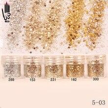Ногтей 1 Jar/Коробка 10 мл Шампанское Серебро Золото Mix Ногтей Блеск порошок Блестками Порошок Для Гель Nail Art Decoration 300 Цветов 5-03(China (Mainland))