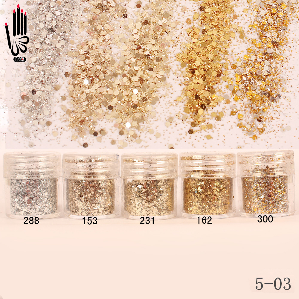 Nail 1 Jar/Box 10ml Champagne Silver Gold Mix Nail Glitter Powder Sequins Powder For Gel Nail Art Decoration 300 Colors 5-03 mioblet 2g box mirror effect nail glitter powder shiny rose gold purple mirror chrome powder dust nails art pigment diy manicure