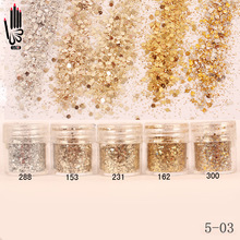1 burk / ruta 10 ml Champagne Silver Gold Mix Nail Glitter Powder Sequins Pulver För Nail Art Decoration Valfritt 300 färger 5-03