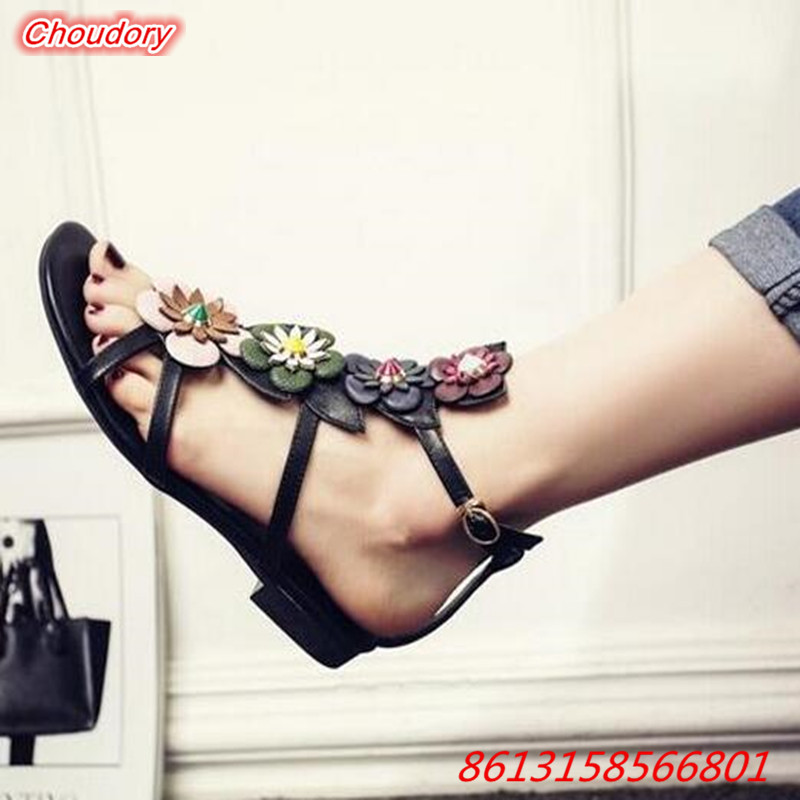 Narrow Band Colorful Flower font b Women b font Sandals Rivet Open Toe font b Shoes
