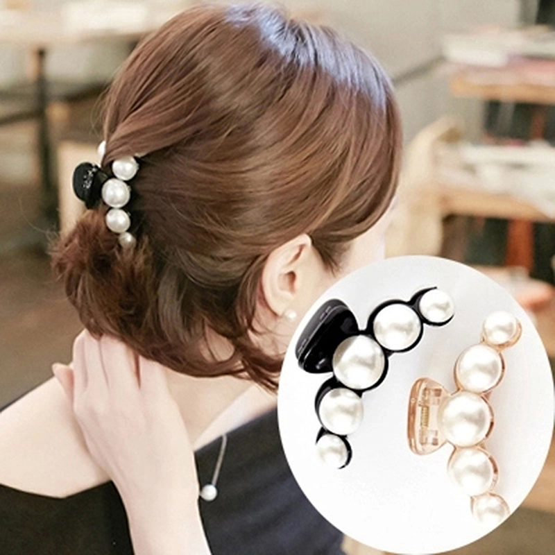 Emulational Pearl Top Gripper Hairpins Crystal Rhinestone Hair Clip Hair Crab Plastic Hair Claws For Women Clamp Resin Barette