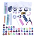 Lady Girl 42 PCs Acrylic Nail Art Tips Powder Liquid Brush Glitter File Set Kit