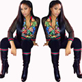 ICHOIX 2017 New Fashion Print 2 Piece Set Women Pant and Top Casual Sexy Perspective Equipment Women's Sets Long Sleeve Ensemble