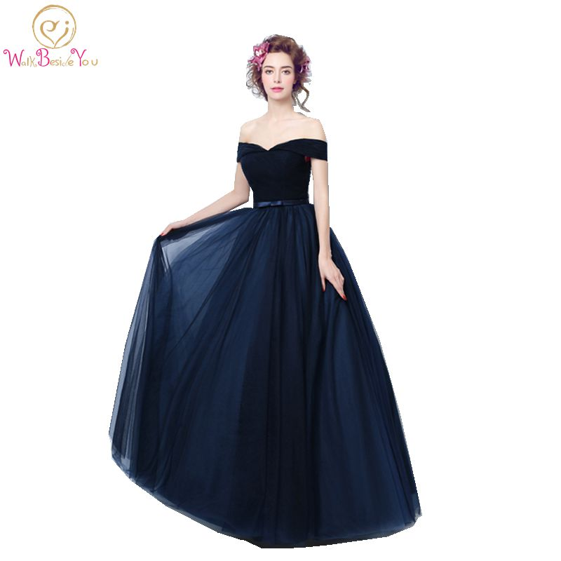 100% Real Image Vestidos Longos De Festa Navy Blue Evening Dresses With Bow  Off The Shoulder Party Women Prom Gown 7c9a7209bea7